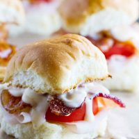 close up of Mini Kentucky Hot Brown Sandwiches