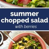 photos of summer chopped salad with text in the middle