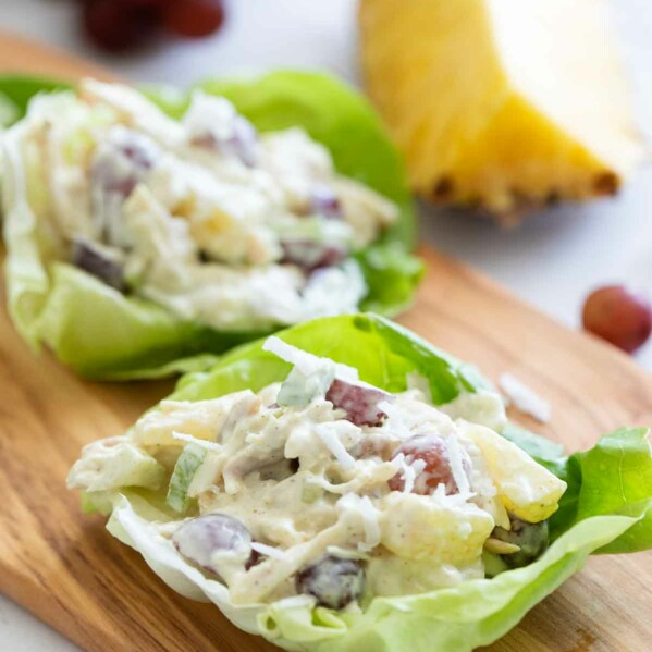 chicken lettuce wraps with tropical flavors