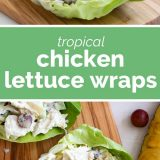 2 photos of chicken lettuce wraps with text in the middle