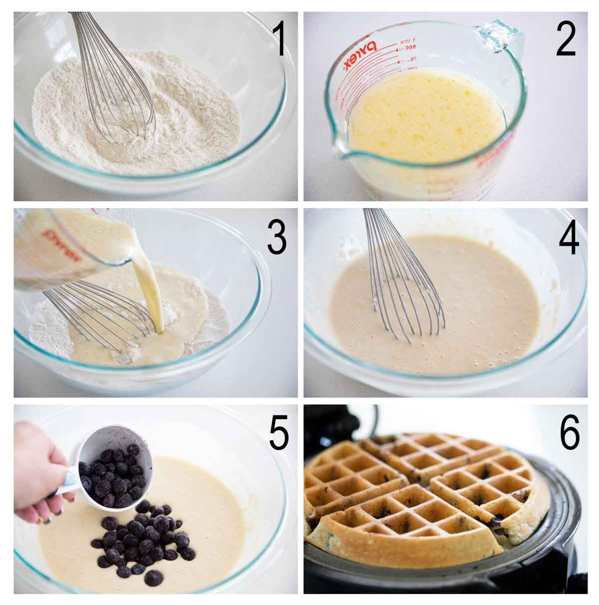 steps for making blueberry waffles