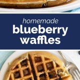 close up and overhead view of waffles with blueberries with text in the middle