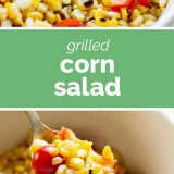 grilled corn salad with tomatoes and peppers with text in the center