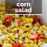 close up of corn salad with text overlay