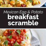 Mexican Egg and Sweet Potato Breakfast Scramble with text in the center