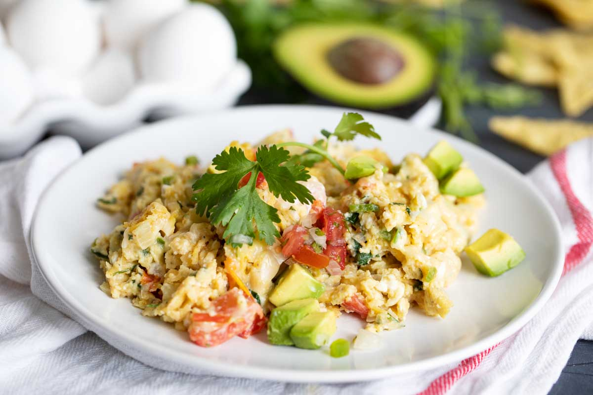 portion of migas on a plate topped with cilantro and avocado