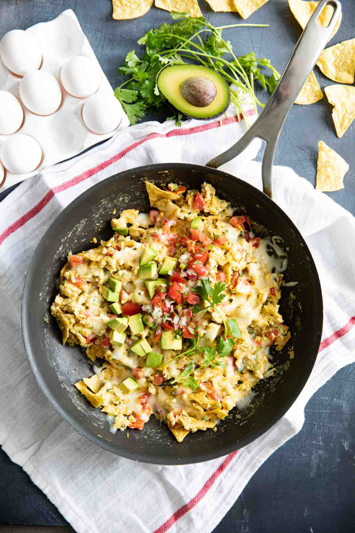overhead view of migas in a skillet