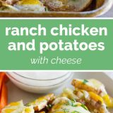 ranch chicken and potatoes with cheese with text in the center