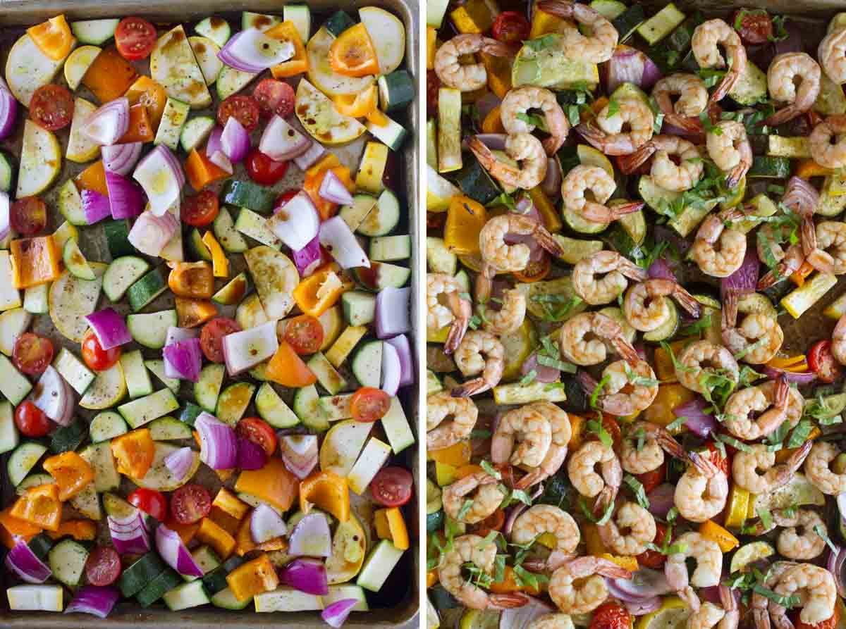 sheet pan with uncooked vegetables and sheet pan with cooked vegetables and shrimp