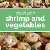 shrimp and vegetables with text in the middle