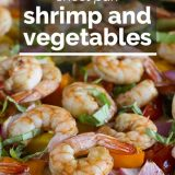 cooked shrimp and vegetables with text overlay