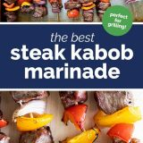 steak kabobs with vegetables with text in the center