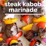 close up of steak kabobs with text overlay