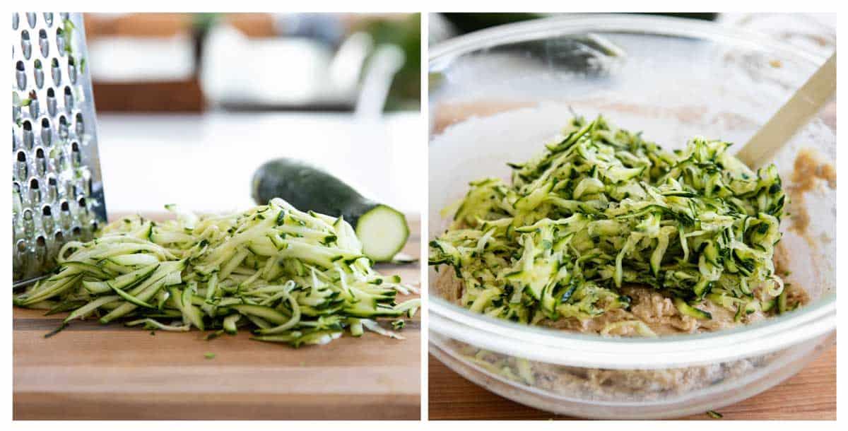 grating zucchini and mixing zucchini into batter for Zucchini Bread
