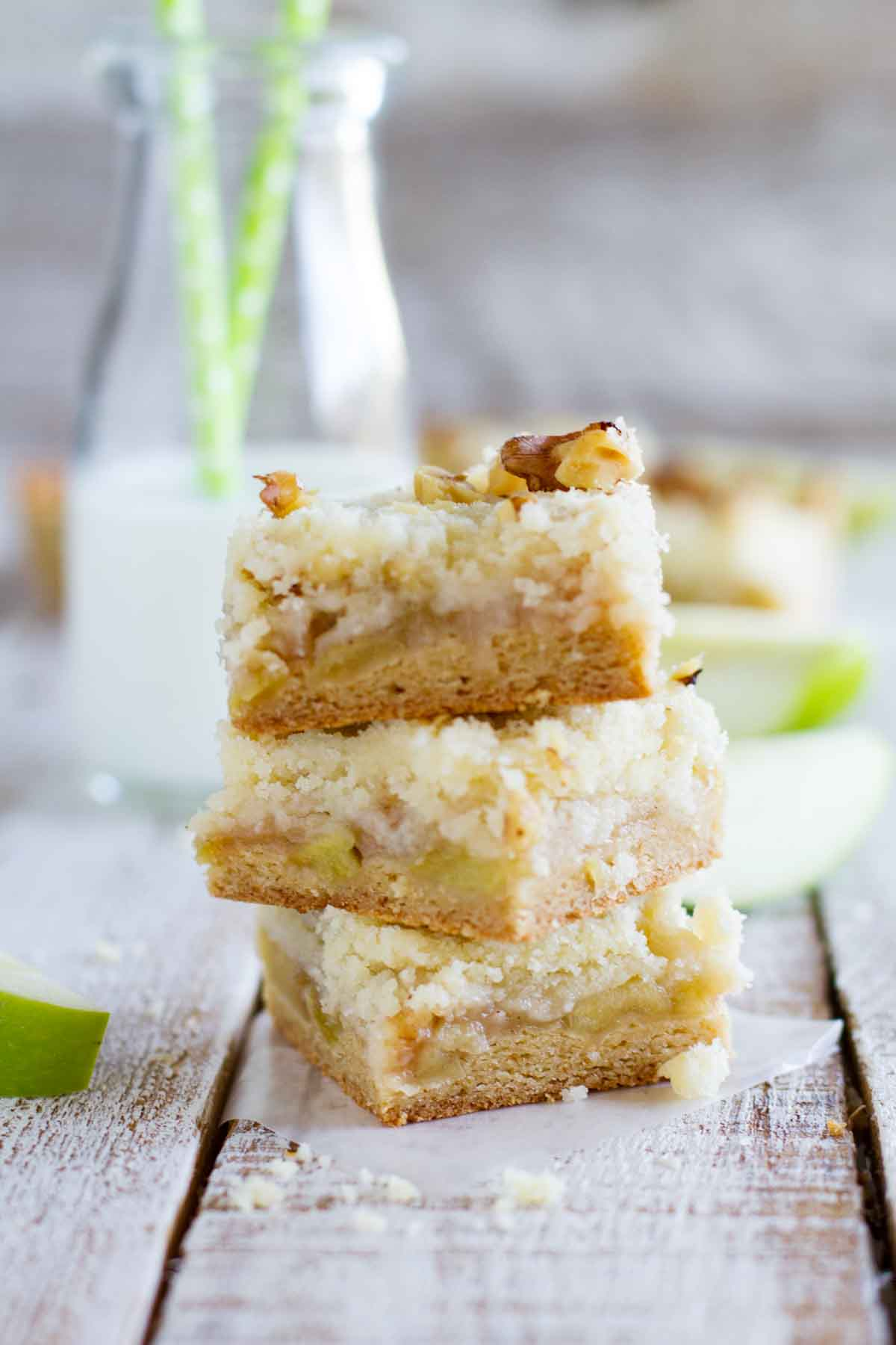 stacked apple bars with crumb topping
