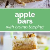 apple bars with crumb topping with text in the middle