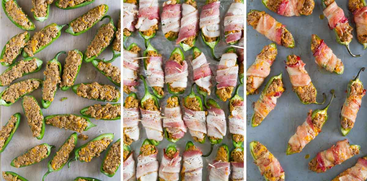 filling, wrapping and baking jalapeno halves