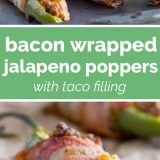 bacon wrapped jalapeno poppers with taco filling with text in the middle