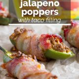 bacon wrapped jalapeno poppers with taco filling with text overlay