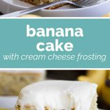 banana cake with cream cheese frosting with text in the center