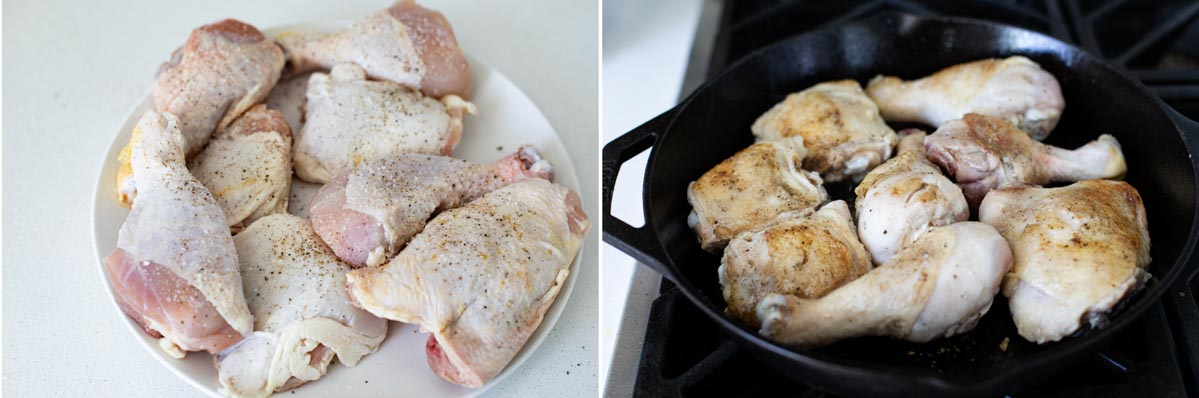 chicken drumsticks and thighs cooking in a cast iron skillet
