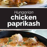 chicken paprikash with text in the center