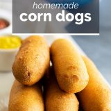 close up of corn dogs with text overlay