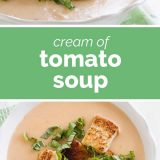 cream of tomato soup with text in the center
