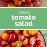 side and top view of herbed tomato salad