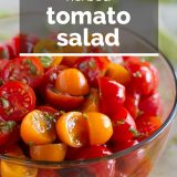 tomato salad with olive oil and herbs in a bowl