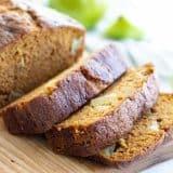 loaf of sliced pumpkin apple bread