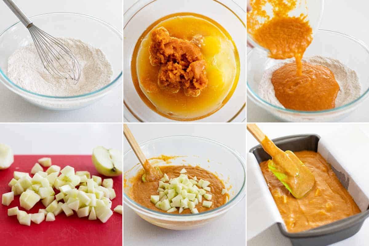 steps to make pumpkin apple bread