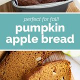 pumpkin apple bread with text in the center