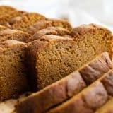 sliced loaf of pumpkin bread