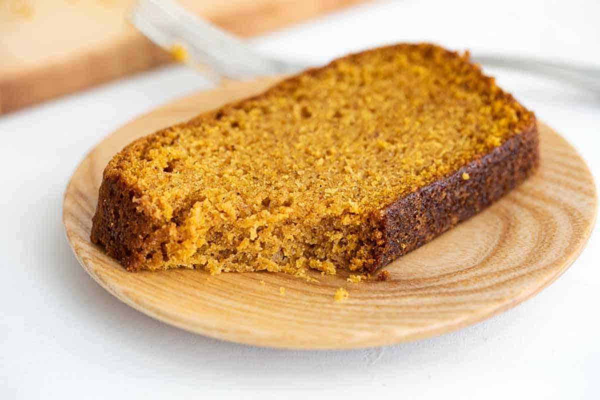 slice of pumpkin bread on a plate