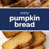 sliced pumpkin bread with text in the middle