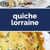 slice of quiche lorraine plus whole quiche with text in the middle