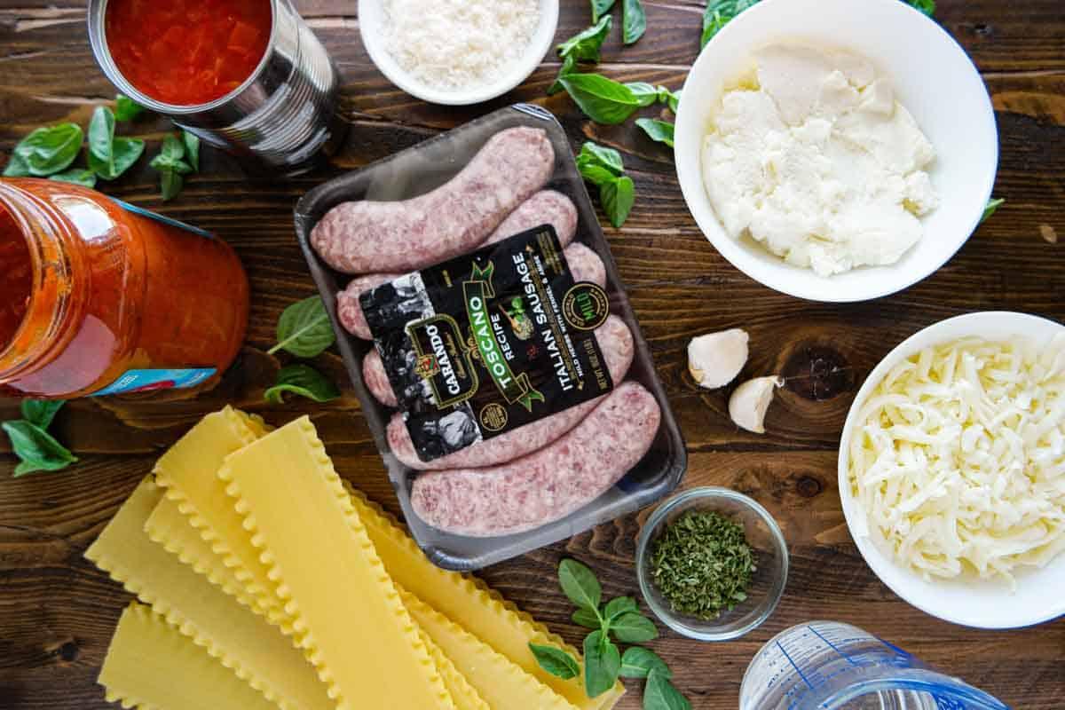 Ingredients to make Skillet Lasagna