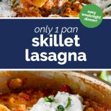 skillet lasagna with text in the center