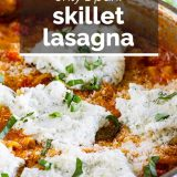 skillet lasagna with text overlay