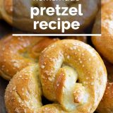 close up of soft pretzel with text overlay