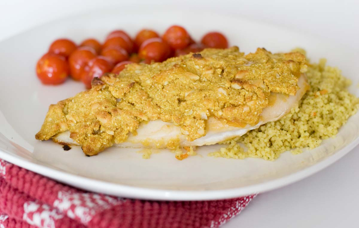 chicken breast with a crispy crust made from nuts