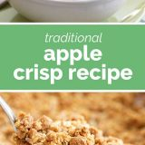 apple crisp with text in the center
