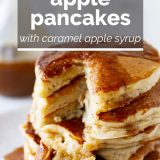 stack of apple pancakes with caramel apple syrup with text overlay