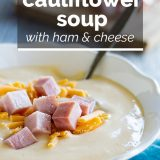 bowl of Cauliflower Soup with Ham and Cheese with text overlay