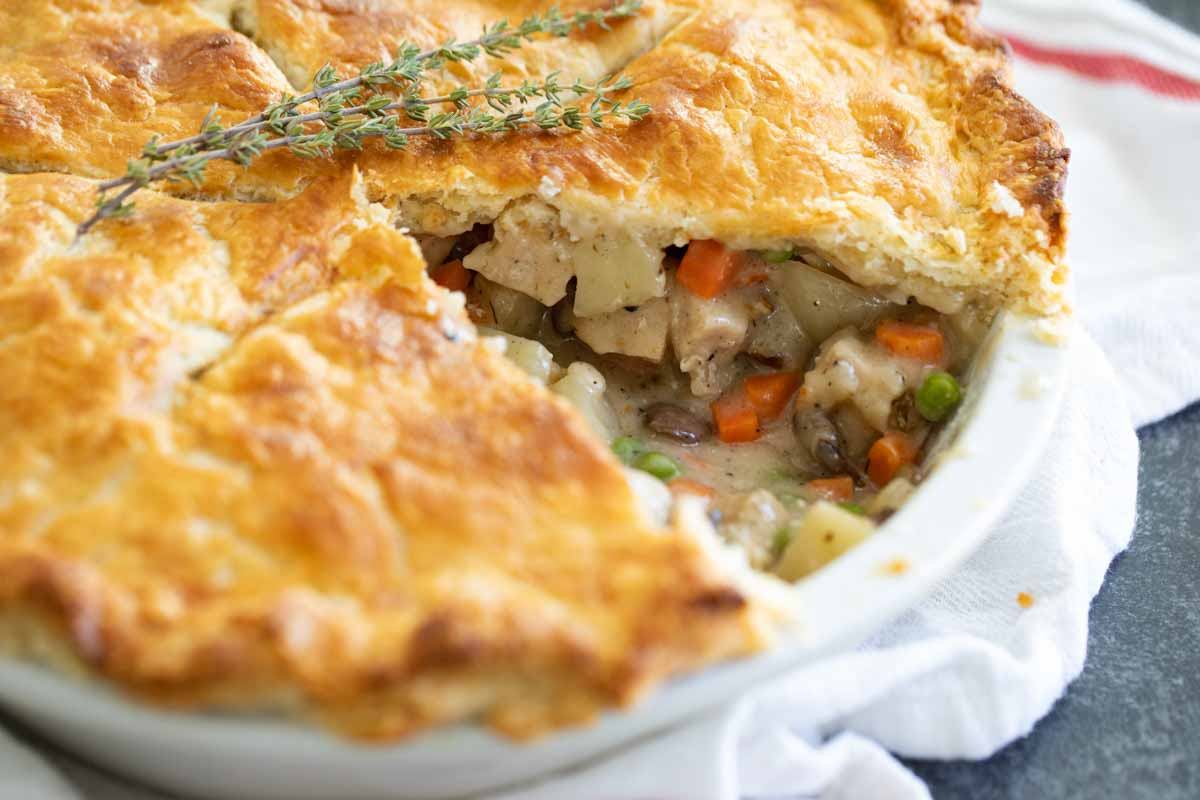 chicken pot pie with a slice taken out