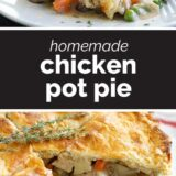 chicken pot pie with text in the center