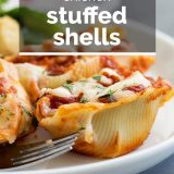 Chicken Stuffed Shells with Text Overlay