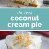 Coconut Cream Pie with text in the center