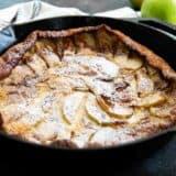 German Apple Pancake in a cast iron pan
